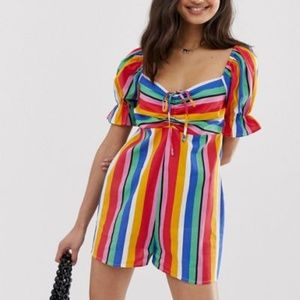 ASOS Striped Ruffle Romper with Puff Sleeve *NWT*